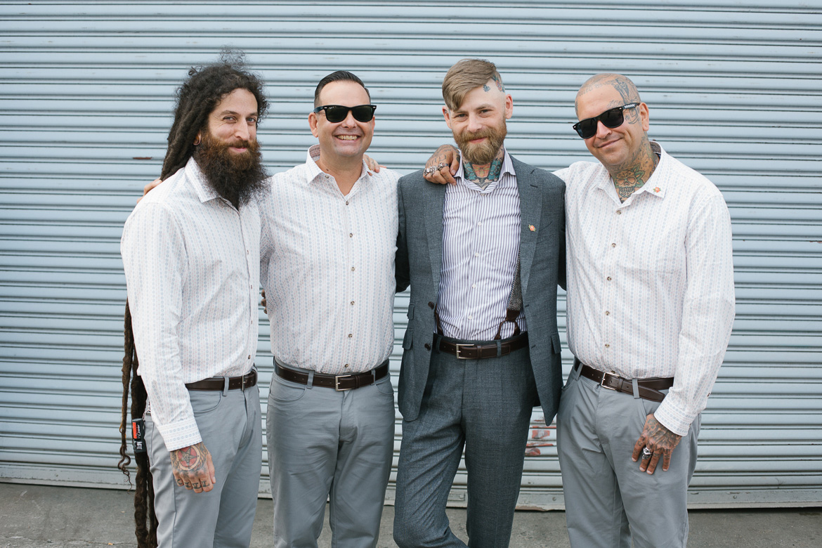 Within Sodo Seattle wedding groom groomsmen portrait