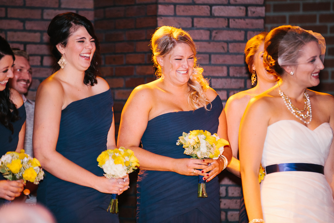 Bridesmaid during wedding ceremony at Georgetown Ballroom in Seattle, WA