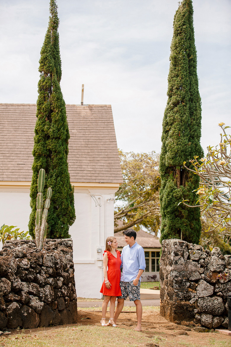 St Raphael Church engagement session photos in Kauai, HI