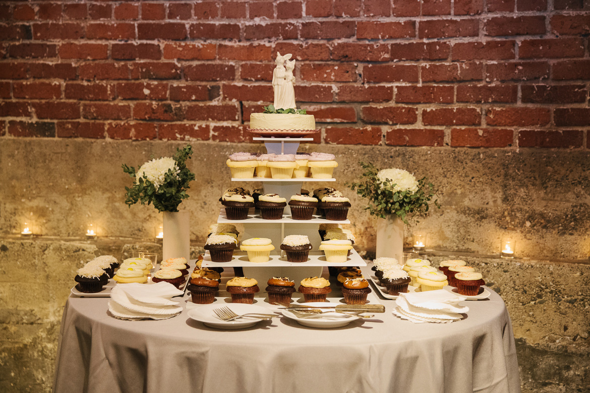 Wedding cupcakes at fall wedding at Melrose Market Studios in Seattle, WA