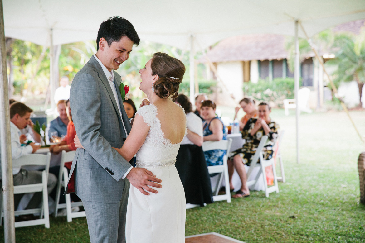 Waimea Plantation Cottages wedding Kauai reception bride groom first dance